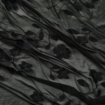 destiny black Floral Embroidery on mesh