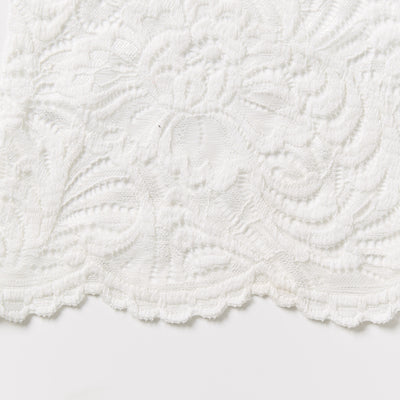 fleur ivory Stretch lace traditional design doubled scalloped edge