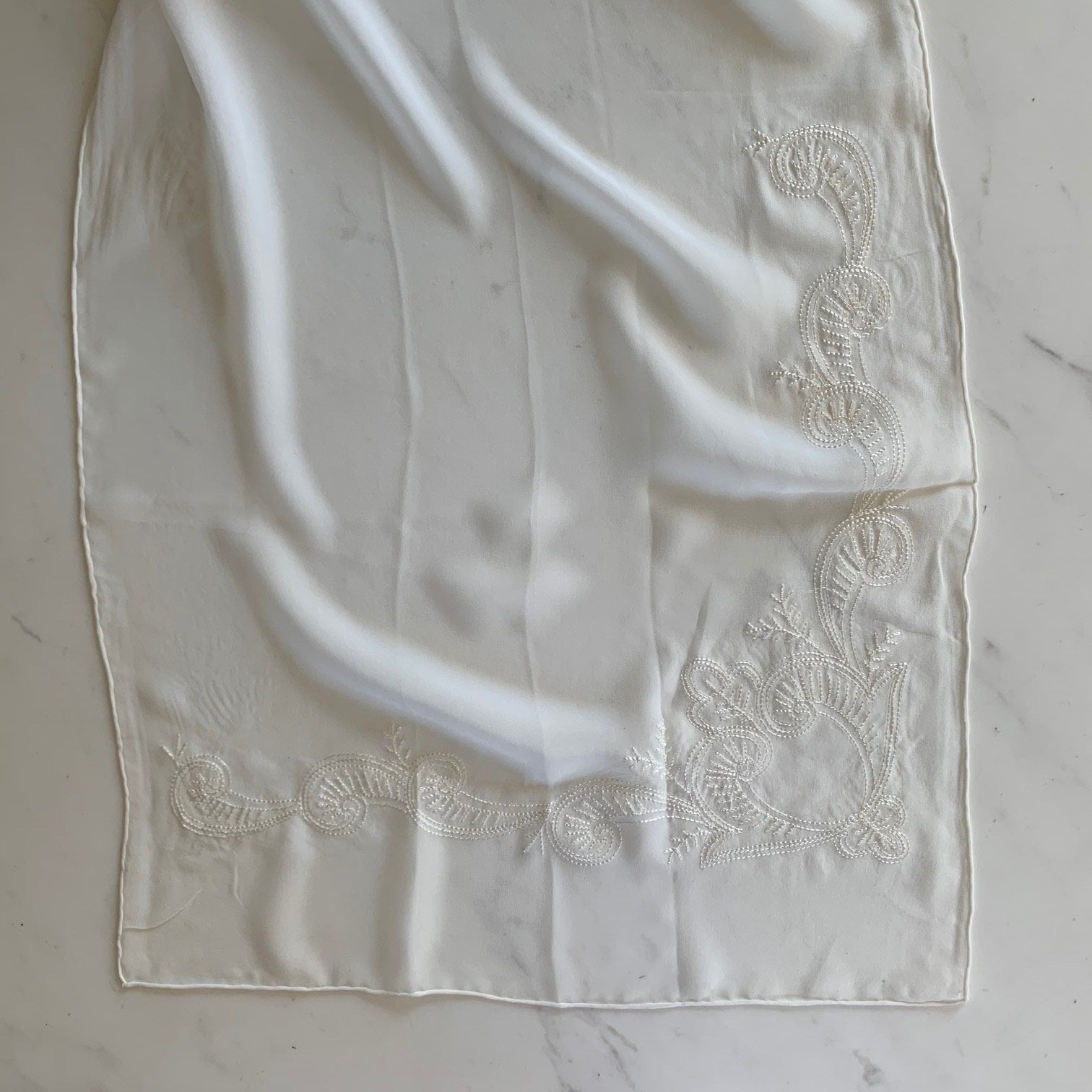 Embroidered georgette pure silk scarf