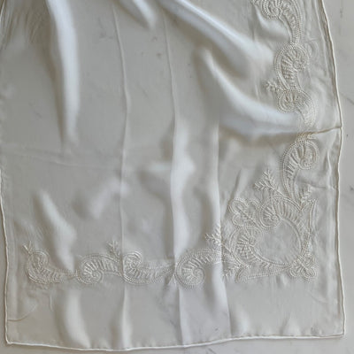 georgette pure silk scarf embroidered border
