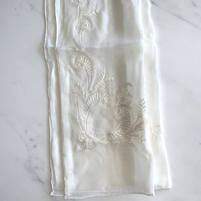 Embroidered pure silk scarf embroidered border