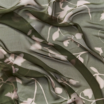 sublime khaki  floral sheer pure silk georgette
