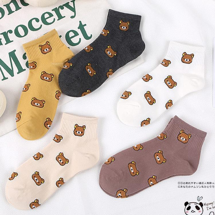 Summer new style, women's cartoon, pure cotton, pure cotton, casual little bear, Korean college wind and women's socks