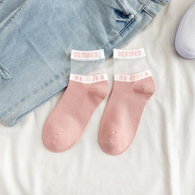 1 Pair Fashion Korean Style Women Cotton Silk Short Socks Bright Color Letters Lace Casual Breathable Socks pink socks
