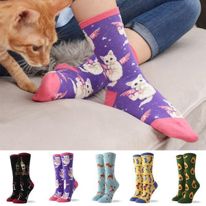 Hot Sale Colorful Women's Cotton Crew Socks Funny Banana Cat Animal Pattern Creative Ladies Novelty Socks