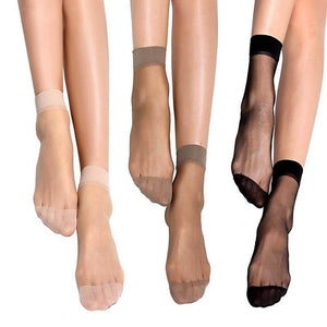 10airs wholesale women summer sexy ultrathin transparent crystal silk socks high elastic skin color nylon short socks
