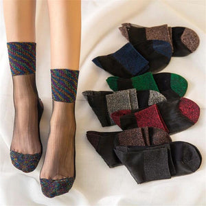 Lace Mesh Fishnet Socks Transparent Stretch Elasticity Funny Ankle Glass Socks Net Yarn Thin Women Cool Shiny Silk Socks