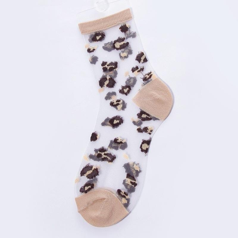 New Product Spring Summer Transparent Crystal Silk Socks Women Sexy Leopard Grain Fashion Casual Breathable