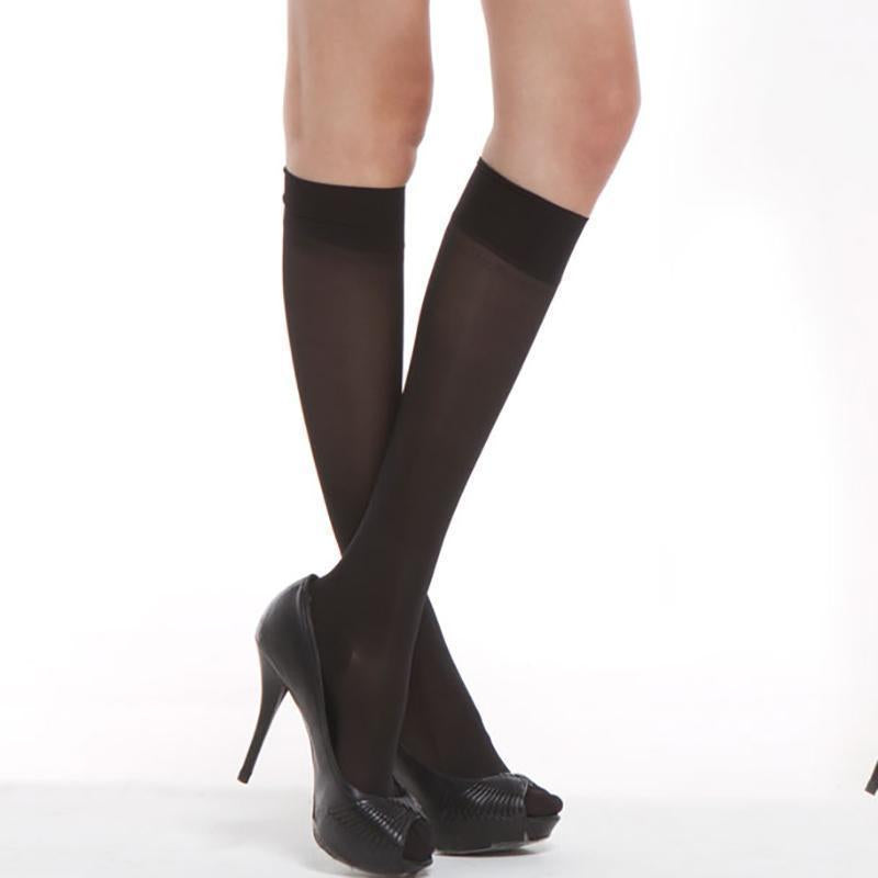 10 pairs/pack Hot Basal Silk Knee High Socks 20D/40D/70D Elastic Ultra-thin Transparent Nylon Half Stocking