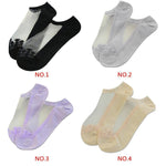 Newly Design Women Lace Crystal Silk Short Socks Ultrathin Transparent Invisible socks Low Cut Socks