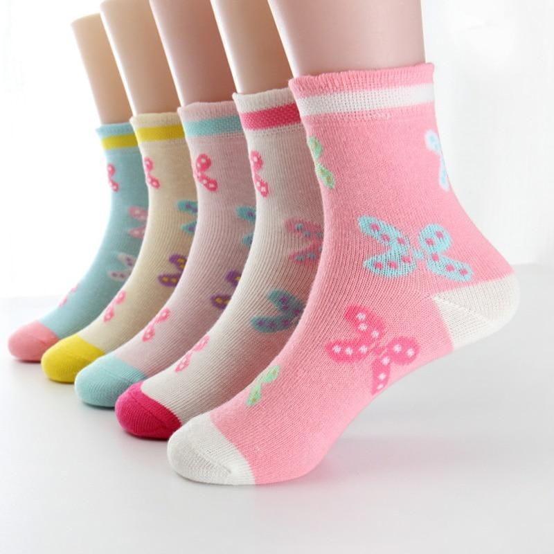 5 pairs/lot Spring Autumn High Quality Girls Socks Cotton Butterfly Candy Color Socks For Girls 3- 12 Year Children Socks