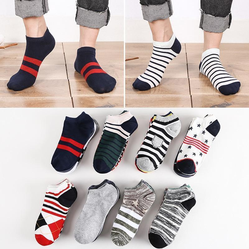 10 Pieces/ Lot Plus Size Sports Men's Sock Spring Summer Breathable Fitted Striped Patchwork Ankle Socks