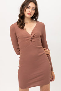 Twisted Front Ribbed Dress (Almond)