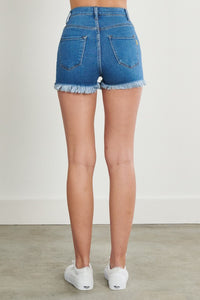 High Waisted Distressed Shorts (Light Wash)