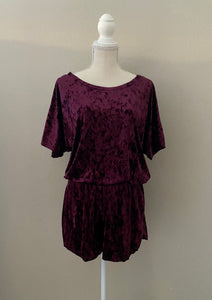 Crushed Velvet Romper (Dark Plum)