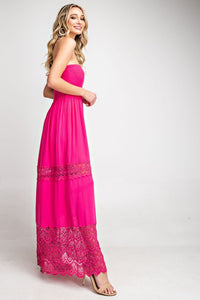 Myla Laced Maxi Dress (Hot Pink)