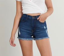 Load image into Gallery viewer, High Waisted Distressed Shorts (Dark Wash)