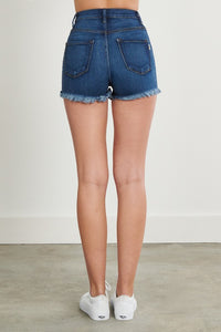 High Waisted Distressed Shorts (Dark Wash)