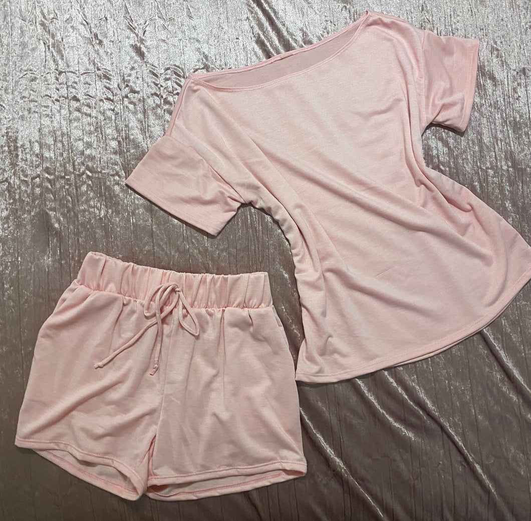 Let's Stay Home Short Set (pink)