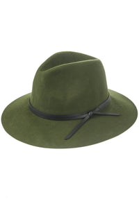 Faux Leather Tie Wool Fedora