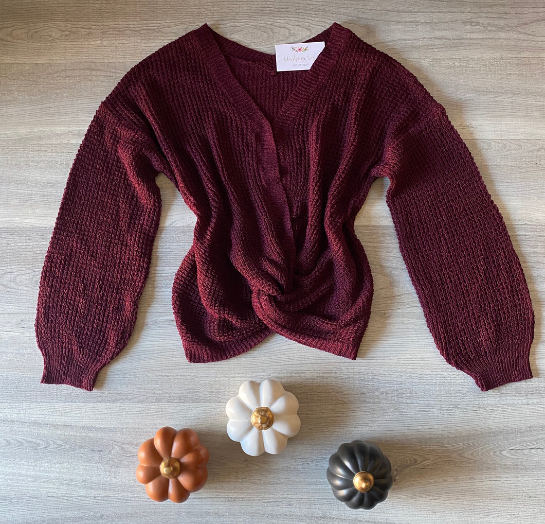 Twisted Front Sweater (Wine)