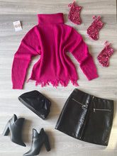 Load image into Gallery viewer, Pink Turtle Neck Knit Top