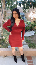 Load image into Gallery viewer, Twisted Front Ribbed Dress (Wine)