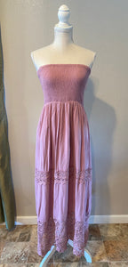 Smocked Lace Maxi Dress (Mauve)