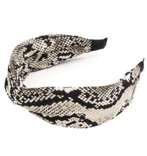 Load image into Gallery viewer, Snake Print Knot Headband (Gray)