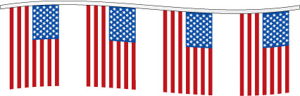 60FT Pennant String: USA Flag Pennants