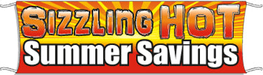 Giant Outdoor Banner: Sizzling Hot Summer Savings