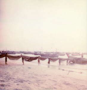 Fishermens Ngapali beach Myanmar Polaroid photography