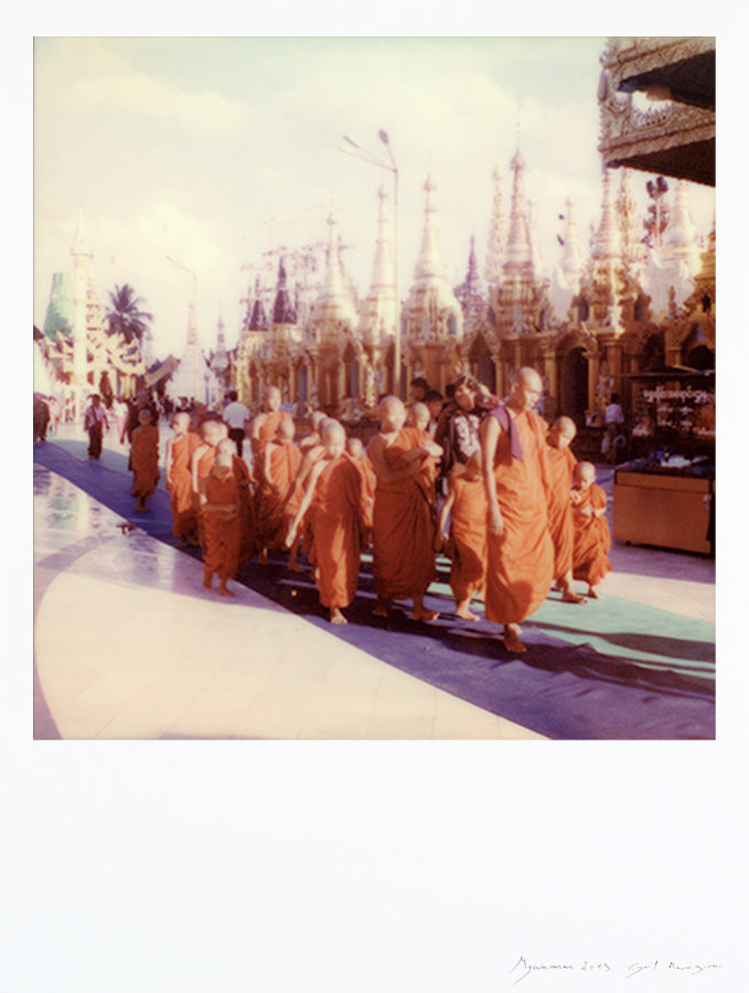 Large size polaroid print monks monastery
