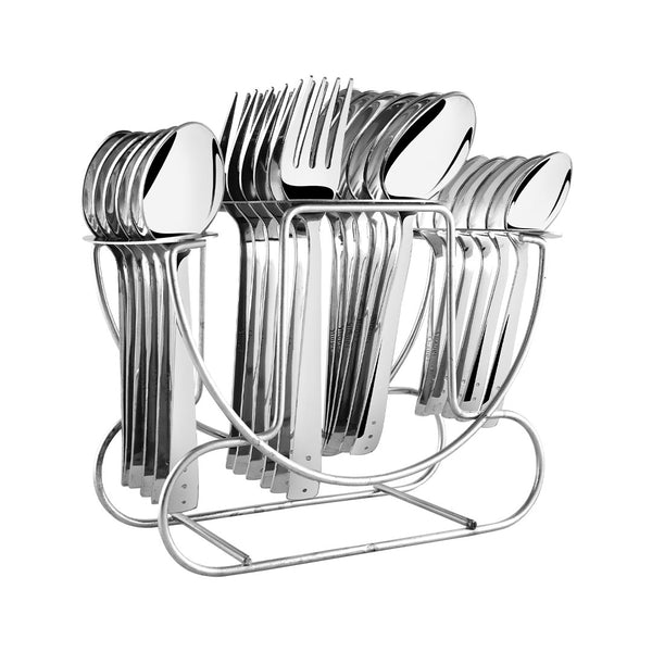 Shapes Triple Dot Cutlery Set with Stand 24 Pcs