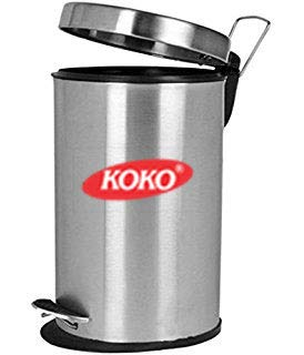 KOKO - Stainless Steel Plain Dustbin for Kitchen , Bathroom and Office - 5 Litre (7x10)