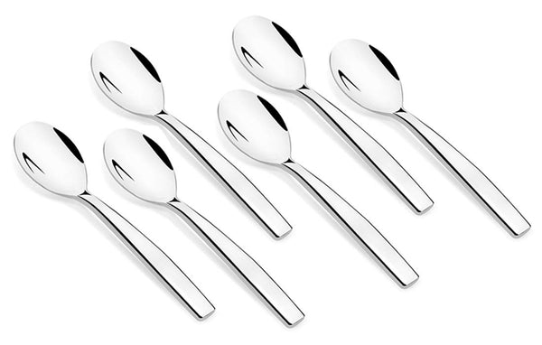 Shapes Aura 304 Grade Stainless Steel Coffee Spoon Set of 6 Pieces || Dishwasher Safe || Mirror Finish