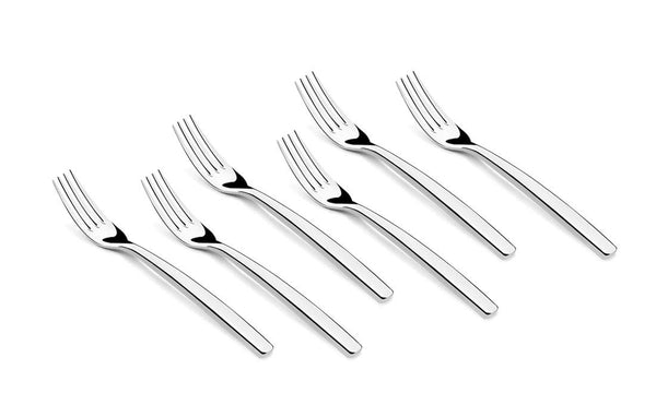 Shapes Aura 304 Grade Stainless Steel Cake Fork Set of 6 Pieces || Dishwasher Safe || Mirror Finish