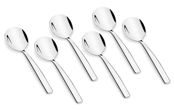 Shapes Aura 304 Grade Stainless Steel Soup Spoon Set of 6 Pieces || Dishwasher Safe || Mirror Finish