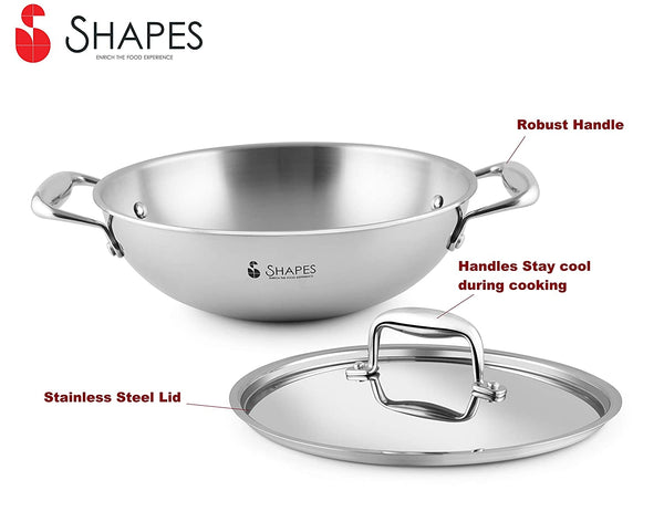 Shapes Stainless Steel Tri-ply All Cooktop Wok with Lid, Size 24 cm. Capacity 2.5 Litre
