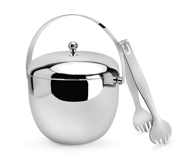 Shapes Stainless Steel Ice Bucket with Tong || Capacity 1650 ml