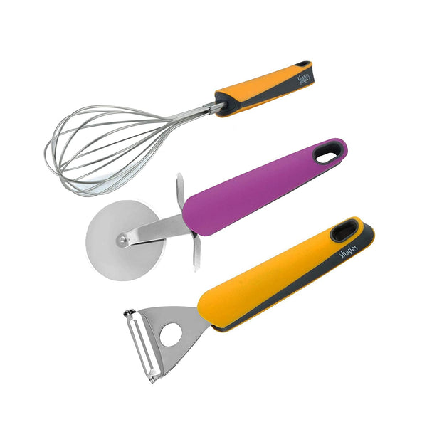 Shapes Imporio Gadget Set (Pizza Cutter,Egg Whisk & Y Shape Peeler)