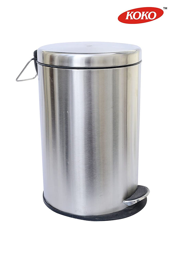 Koko - Stainless Steel Plain Pedal Dustbin/ Plain Pedal Garbage Bin with Plastic Bucket For Kitchen, Bathroom and Office - 5 litre (7x10)