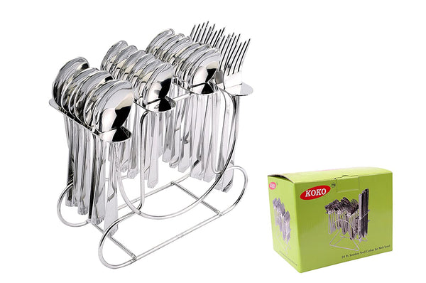 New Sigma Cutlery Set of Spoons and Fork 24 Pcs. with Round stand