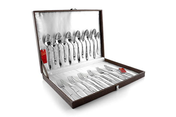 Colin 304 grade, 18/10 & Cup Rolled cutlery set of spoon & Fork 24 pcs with Gift Box