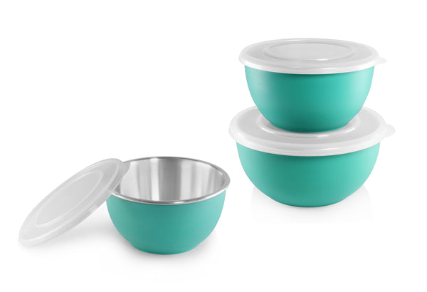 Shapes Microwave Bowl With Lid Set of 3 Pcs. (Assorted Color)