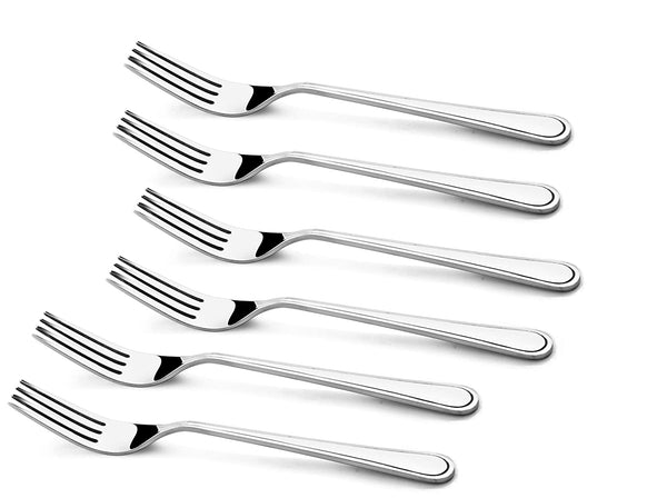 Shapes Regale Stainless Steel Dinner Fork Set for Home/Kitchen,6 Pieces (Silver)