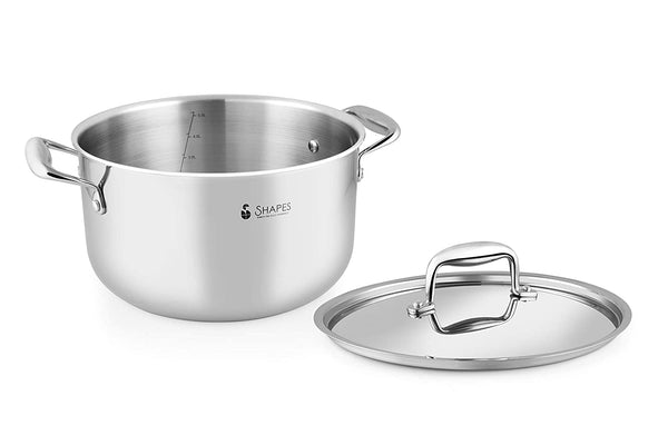 Shapes Stainless Steel Triply Casserole with Lid, Multipurpose Use for Kitchen and Restaurant, Dishwasher Safe 24 cm, Capacity 6 LTR.