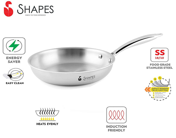 Shapes Stainless Steel Triply All Cooktop Frypan, 24 cm, Capacity 1.8 LTR.