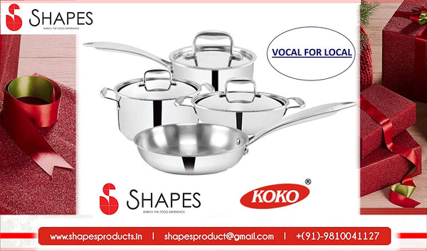 Shapes Stainless Steel Triply All Cooktop Frypan, 20 cm, Capacity 1 LTR.