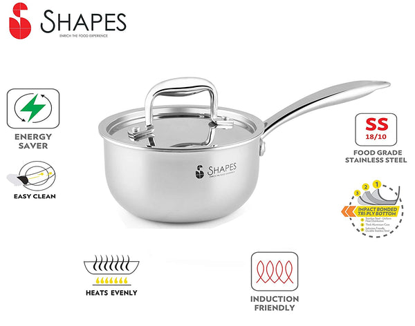 Shapes Stainless Steel Tri-ply All Cooktop Friendly Saucepan with Lid, Size 14 cm, Capacity 1 Litre